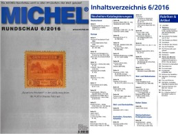 MICHEL Briefmarken Rundschau 6/2016 Neu 6€ New Stamps Of The World Catalogue/magacine Of Germany ISBN 978-3-95402-600-5 - Pin's