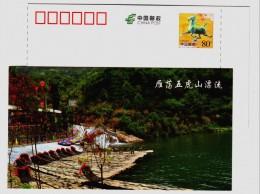 Stream Rafting,China 2015 Mt.Yandangshan Tourism Advertising Pre-stamped Card