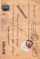 Lettre Recommandé CALAIS  Sauvegarde De Création D'une Dentelle - Type Semeuse Perforée - Marcophilie (Lettres)