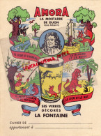 21 - DIJON - PROTEGE CAHIER - MOUTARDE AMORA - FABLE LA FONTAINE- LION ET RAT-LOUP ET L' AGNEAU- RENARD ET BOUC-PECHE - Food
