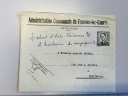 16 J - Enveloppe Marcophilie Administration Communale Frasnes Lez Couvin Années 60 - Sin Clasificación
