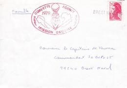 CORVETTE  ACONIT 1970 MISSION OKOUME 1979 CACHET EN LIGNE BREST NAVAL - Marcophilie (Lettres)