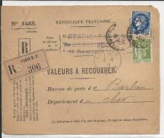 """1939 - CERES + PAIX PERFORES """"S.C"""" RARES Sur DEVANT De LETTRE RECOMMANDEE VALEURS à RECOUVRER Pour BARLIEU (CHER) - France"""