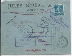 1923- SEMEUSE PERFOREE / LETTRE De ANGERS (MAINE ET L.) Pour BILLOM (P De DOME) PARTIE EN ANGLETERRE=>RETOUR+TAXE+REBUTS - Storia Postale
