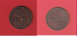 Preussen  //  3 Pfenninge  1858 A - Small Coins & Other Subdivisions