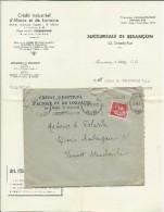 1936 - PAIX PERFORE De La BANQUE CREDIT INDUSTRIEL D'ALSACE ET LORRAINE Sur LETTRE De BESANCON (DOUBS) - France