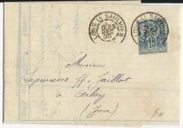 """1890 - SAGE PERFORE """"C.P"""" De CAMILLE PROST Sur LETTRE De LONS LE SAUNIER (JURA) Pour ARLAY - France"""