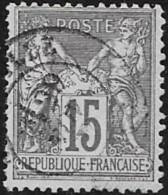 N°  77  T  I   FRANCE  -  OBLITERE  - TYPE SAGE  15 C - - 1876-1878 Sage (Type I)