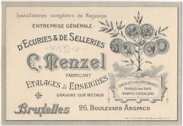 Carte De Visite. Entreprise D'Ecuries & De Selleries. MENZEL. Etalages & Enseignes. Bruxelles. Boulevard Anspach - Cartes De Visite