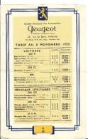 Société Anonyme Des Automobiles PEUGEOT , Rue De Berry Paris VIII - Tarif Des Véhicules 1955 Et Conditions De Vente - Transports