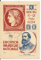 1934 - CARTE ENTIER POSTAL SEMEUSE TSC COMMEMORATIVE De GRENOBLE (ISERE) - Postal Stamped Stationery
