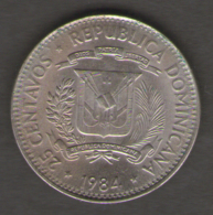 DOMINICANA 25 CENTAVOS 1984 - Dominicaine