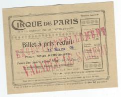 """PARIS 7 ème - Billet D'Entrée Au """" CIRQUE De PARIS """", 18 Et 20 Avenue De La Motte Piquet - Arrondissement: 07"""