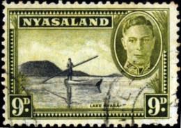 NYASALAND- (MALAWI) - BOATING IN LAKE NYSA- PRE DECIMAL-6d-FINE USED-TP-386 - Malawi (1964-...)