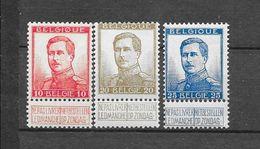 België 1912 Y&T Nr° 123/125 ** - 1912 Pellens