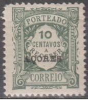 AÇORES-1922-1924, (PORTEADO) Em. Regular. Unicolor. C/ Sobrec. «AÇORES» 10 C.   (P.liso) ** MNH Afinsa Nº 27 - Azores