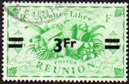 Réunion Obl. N° 257- Détail De La Série De LONDRES Surchargé En 1945 - Productions - 3frs Sur 25cts C Vert - Oblitérés