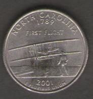 STATI UNITI QUARTER DOLLAR 2001 NORTH CAROLINA - 1999-2009: State Quarters