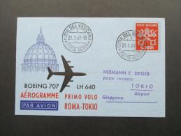 Erstflug Lufthansa LH 640 Boeing 707 ROM-TOKiO Auf Aerogramm Vatican / Citia Del Vaticano 21.1.61. Primo Volo - Covers & Documents