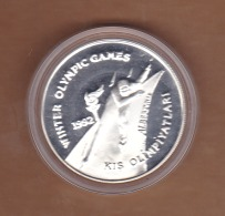 AC - 1992 WINTER OLYMPIC GAMES ALBERTVILLE FRANCE 50 000 LIRA COMMEMORATIVE SILVER COIN TURKEY PROOF UNCIRCULATED - Turquie