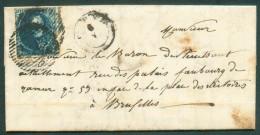 N°4 - Médaillon 20 Centimes Bleu, Touché Mais Voisin à Droite, Obl.D.44 Sur Lettre Avec Contenu De LENS-SUR-GEER + Càd T - 1849-1850 Médaillons (3/5)