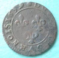 France - Double Tournois Louis XIII 1639 C Saint Lô - 987-1789 Royal