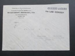 Bolivien 1939 Luftpostbeleg Correo Aero / Via LAB Condor. MiF. Marken Mit Aufdruck! Sehr Interessanter Beleg!! - Bolivien
