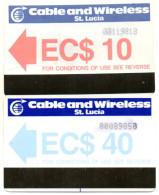 TELECARTES MAGNETIQUES SAINTE LUCIE  *EC$ 10 *EC$ 40  (lot De 2) - Sainte Lucie