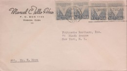 E)1945 CUBA, VICTORY, RA6 PT5, PAIR OF 4, CIRCULATED COVER TO NEW YORK, USA, XF - FDC