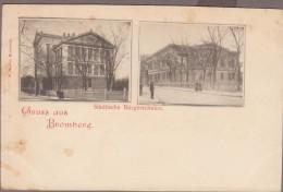 Gruss Aus BROMBERG-Städtische Bürgerschulen  2 Vues  Animé - Polen