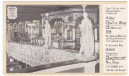 Acker Quality Shop, Philadelphia Pennsylvania Business Interior, Chestnut & 12th Streets, C1900s Vintage Postcard - Shops