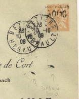 NON SIGNALE, FOULAGE, DAGUIN SOLO R/04 BEZIERS HERAULT Sur ENTIER MOUCHON. 1908. - 1877-1920: Période Semi Moderne