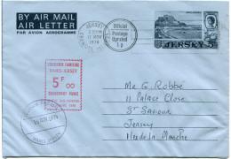 """FRANCE GREVE DE 1974 AEROGRAMME AVEC CACHET ROUGE """"COURRIER FAMILIAL PARIS-JERSEY TRANSPORT PRIVE GREVE DES...OCT. 1974"""" - Marcophilie (Lettres)"""