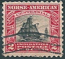 """USA 1925: Nr. 298° - 4 C. - 100. Jahrestag D. Ankunft Norwegischer Einwanderer - Schiff """"Restaurationen"""" - Vereinigte Staaten"""