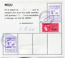 """FRANCE GREVE DE 1974 RECU AVEC CACHET VIOLET """"COURRIER FAMILIAL PARIS-JERSEY TRANSPORT PRIVE GREVE DES...OCT. 1974"""" - Marcophilie (Lettres)"""