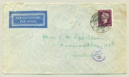 Nederlands Indië - 1949 - 45 Cent Wilhelmina Type Hartz - Deviezen Censuur Op LP-brief Naar Nederland - Niederländisch-Indien