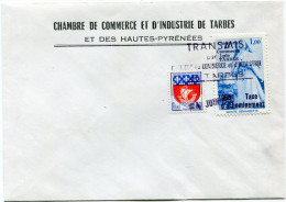 """FRANCE ENVELOPPE DE LA CHAMBRE DE COMMERCE....DE TARBES AVEC VIGNETTE BLEUE """"CHAMBRE....1,00 1968 TAXE D'ACHEMINEMENT"""".. - Postmark Collection (Covers)"""