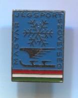 Figure Skating, Eiskunstlauf - HUNGARY, Vintage Pin  Badge, Enamel - Patinage Artistique