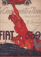 """CARD PUBBLICITA'  AUTO FIAT """"LA CINQUECENTO NOVE""""SPARTITO MUSICALE FIRMA CODOGNATO 5 SCAN -2-0882-25449-450-451-452-453 - Advertising"""