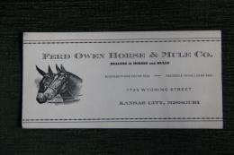 Carte De Visite - FERD OWEN HORSE And MULE, Dealers In HORSE And MULES - KANSAS CITY, MISSOURI - Visiting Cards