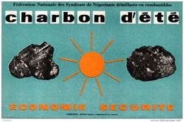 Buvard, Fédération Des Syndicats De Négociants En Combustibles. Charbon D´été, économie Sécurité. - Buvards, Protège-cahiers Illustrés