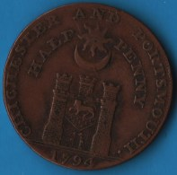 SUSSEX CHICHESTER AND PORTSMOUTH 1794 HALFPENNY  TOKEN  IOHN HOWARD F. R. S PHILANTHROPIST - Professionals/Firms
