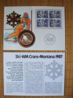 Numisbrief Schweiz, Ski-WM Crans Montana, Mit Silbermedaille, Gepunzt 999,9 !! - Münzen & Banknoten