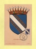 Carte Maximum - N°953 - Armoiries De La Champagne - 1950-59