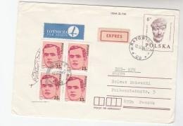 1984 Air Mail POLAND COVER Stamp 4x15z On UPRATED 6z WALESKIE Postal STATIONERY Katowice To Passau GERMANY Express Label - Stamped Stationery