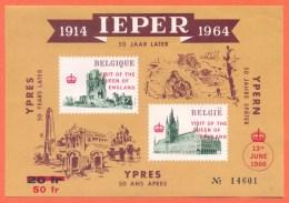 E101** Feuillet D´Ypres De 1964 Avec Surcharge Rouge / Velletje Ieper 1964 Met Rode Opdruk - Erinnophilie