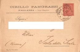 """05742 """"PALLANZA (VB) - CIRILLO PANGRAZZI - FABBRICAZIONE ASTE PER CORNICI E CORNICI"""" CART. COMM. INTEST., SPEDITA 1885 - Commercio"""