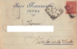 "05743 ""INTRA (VB) - SOCI FRANZOSINI - VETRERIA"" CART. COMM. INTEST., SPEDITA 1910 - Commercio"
