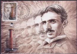 Serbia 2016 Tesla´s Transformator Patent (125 Anni Da Quando Brevetto Trasformatore Di Tesla), CM Maximum Carte - Serbia
