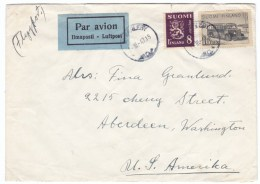 Finland Sc#173C #176D #176H #179 #253 Issues On 2 Covers Sent To Aberdeen & Hoquiam Washington State USA - Finland